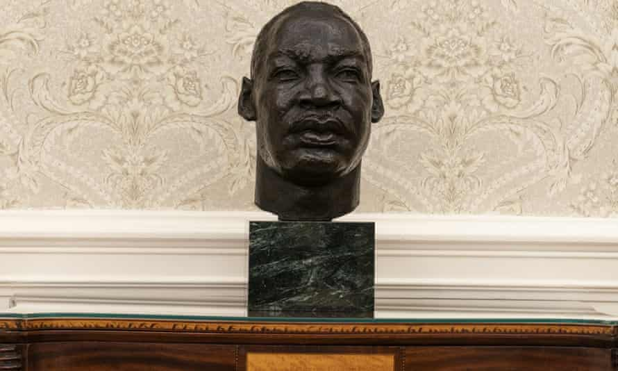 A bust of civil rights leader Martin Luther King Jr.