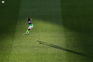 Onome Ebi of Nigeria warms up prior to a group A match between Nigeria and France at Roazhon Park.