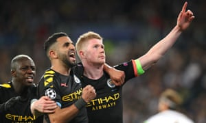 Kevin De Bruyne of Manchester City celebrates his goal with Riyad Mahrez during the UEFA Champions League round of 16 first leg match against Real Madrid.