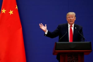 President of the USA, Donald Trump, gave a speech in the Great Hall of the People in Beijing, China, in November 2017.