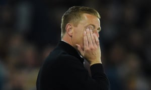 Garry Monk watches his team's poor performance, it could be five without a win for the Swans.