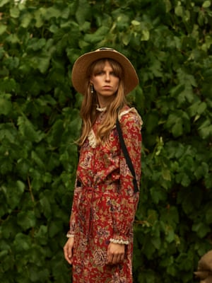 Red floral dress, hired from contemporarywardrobe.com. Straw boater, £18, asos.com. Lucas pearl drops, £95, kittyjoyas.com