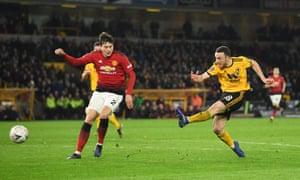 Diogo Jota of Wolverhampton Wanderers scores his team's second goal.