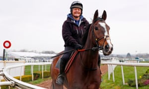 Anibale Fly stretching his legs at Aintree on the morning of the Grand National.