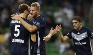 Melbourne Victory players celebrate