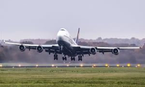 A Boeing 747 takes off at Twente Airport, in November 2020 in Enschede, the Netherlands.