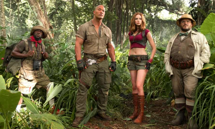 Kevin Hart, Dwayne Johnson, Karen Gillan and Jack Black in Jumanji.