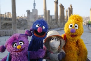 Basma, Grover, Ma'zooza, and Jad on an adventure.