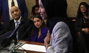 Representatives Andre Carson, Alexandria Ocasio-Cortez and Rashida Tlaib listen to Ilhan Omar speak during a congressional Iftar event at the US Capitol