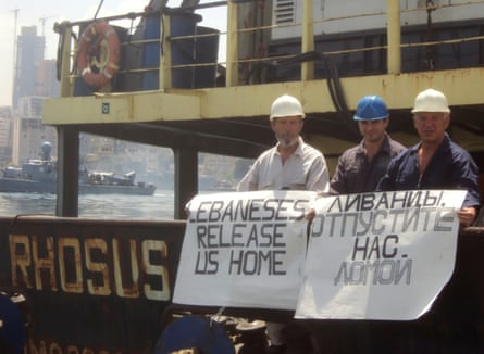 Captain Boris Prokoshev and crew members demand their release from the arrested cargo vessel Rhosus in the port of Beirut, Lebanon, in 2014.