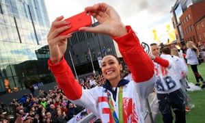 Jessica Ennis-Hill takes a selfie onboard one of the parade floats.
