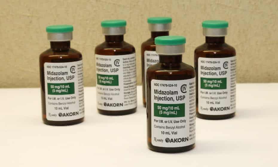 bottles of the sedative midazolam