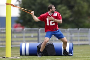 Andrew Luck taking the strain at the Colts' training camp.