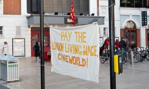 Living wage protest outside Ritzy cinema