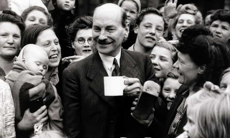 Clement Attlee, pictured chatting to constituents in his Limehouse constituency during the July 1945 general election.