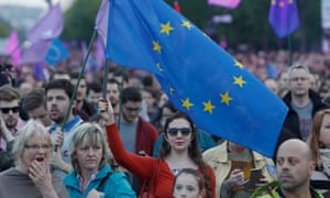 Hungarians attend a pro-European Union rally in Budapest.
