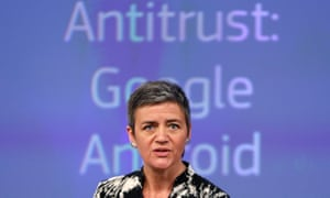 Margrethe Vestager said the commission is concerned 'Google's behaviour has harmed consumers by restricting competition and innovation'.