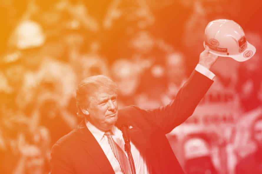 Donald Trump holds a coal miner's protective hat while addressing his supporters during a rally at the Charleston civic centre on 5 May 2016. Modified image.