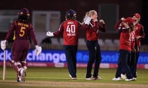 Sarah Glenn of England celebrates dismissing Deandra Dottin of the West Indies.