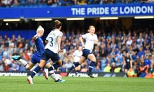 Beth England curls a fantastic shot into the top corner.