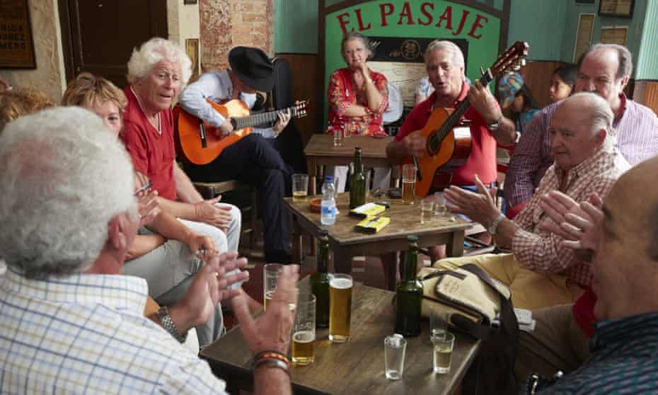 A group of older Spaniards in a bar in Jerez