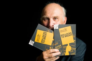 Vince Cable holding Bollocks to Brexit booklets