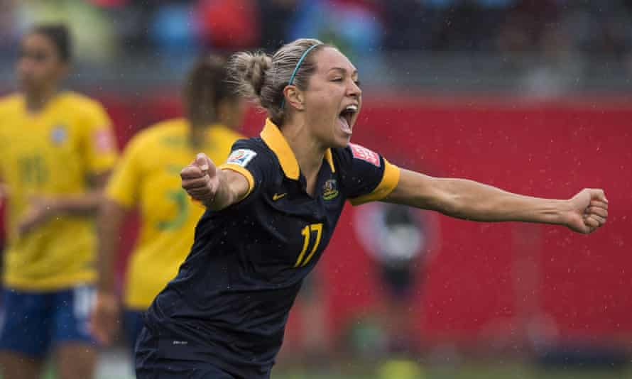 Australia's Kyah Simon wheels away after scoring the only goal of the last-16 encounter with Brazil.