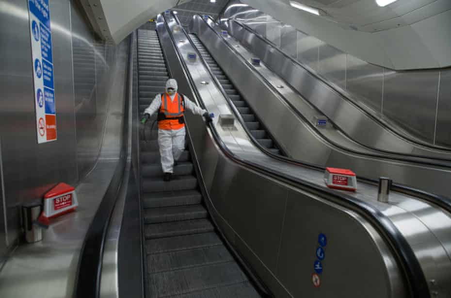 Rohan Coelho, 40, a team leader who has worked for three years on the Victoria line. After spraying the Underground station he sprays Victoria bus station.