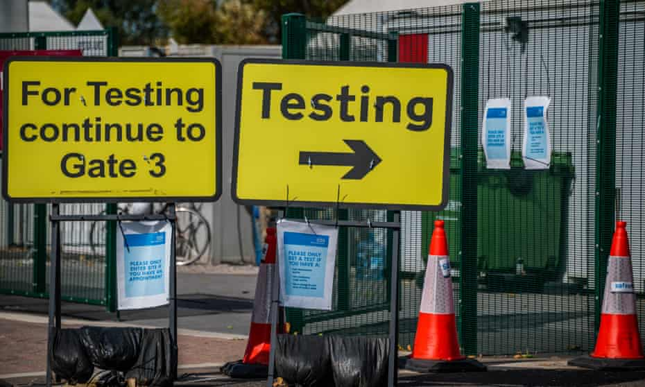 Coronavirus drive-in test centre at Twickenham Stadium, London.