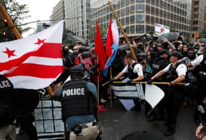 US secret service officers clash with counterprotesters in Washington DC