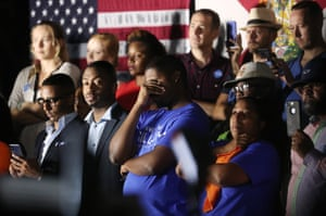 Supporters of Democratic Florida gubernatorial nominee and Tallahassee Mayor Andrew Gillum listen as he concedes the race to U.S. Rep. Ron DeSantis at Gillum's midterm election night rally in Tallahassee, Florida, U.S.