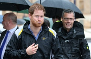 Prince Harry during a very wet meet-and-greet in Sydney