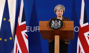 Theresa May holds her press conference in Brussels.