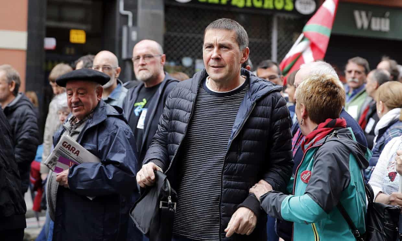 Arnaldo Otegi attends a rally in Bilbao