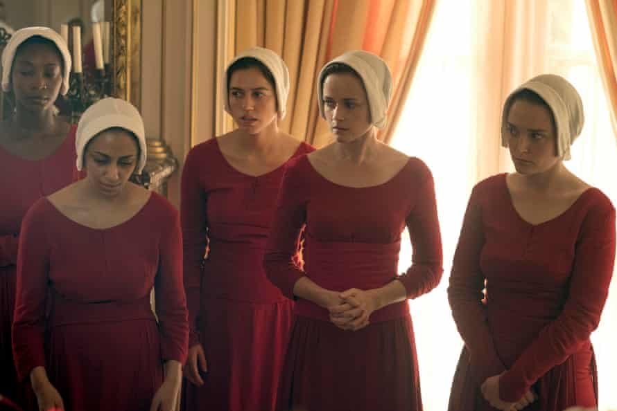The handmaids and wives gather in the fragrant environs of the birth house.