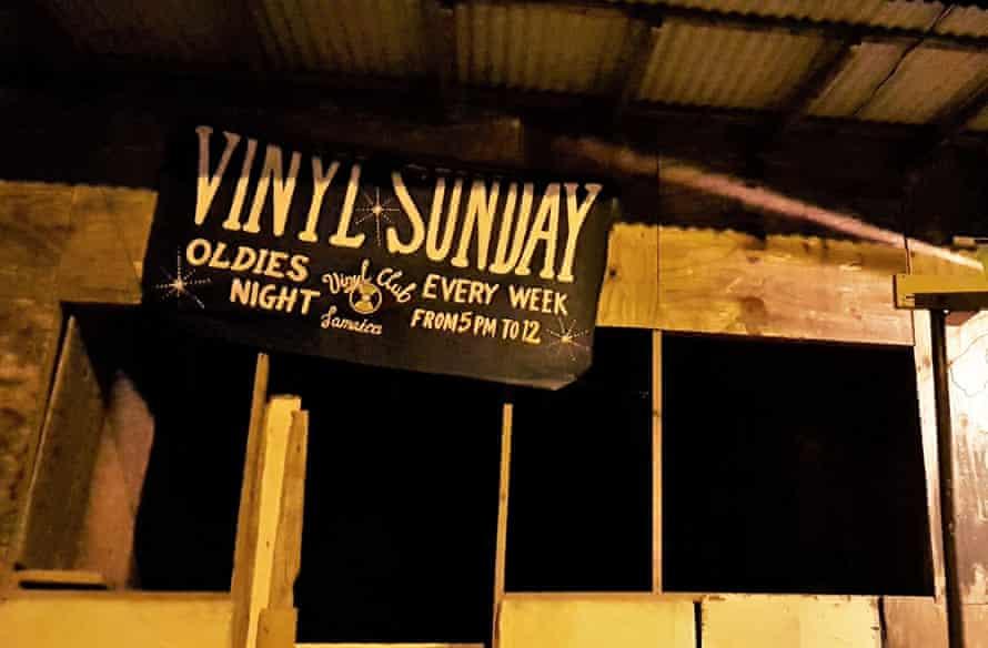 Sign for Vinyl Sunday in Drapers, near Port Antonio, Jamaica