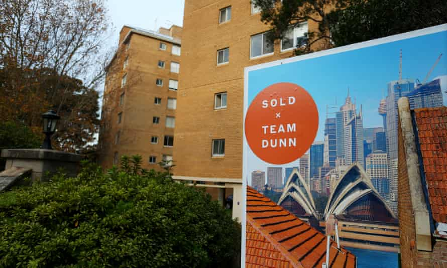 A 'sold' real estate sign is seen outside an apartment block in the suburb Kirribilli on 8 May 2021 in Sydney, Australia.