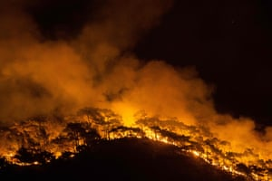 A wildfire engulfs a forest in Marmaris district, Turkey