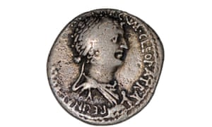 A coin with a depiction of Cleopatra