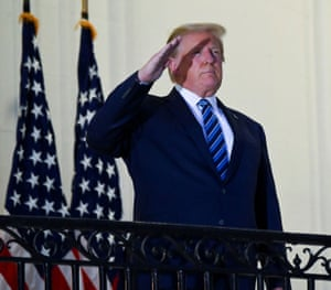 Trump posed without a face mask as he returned to the White House after being hospitalised at the Walter Reed Medical Center for Covid-19, and continues to downplay the severity of the pandemic.