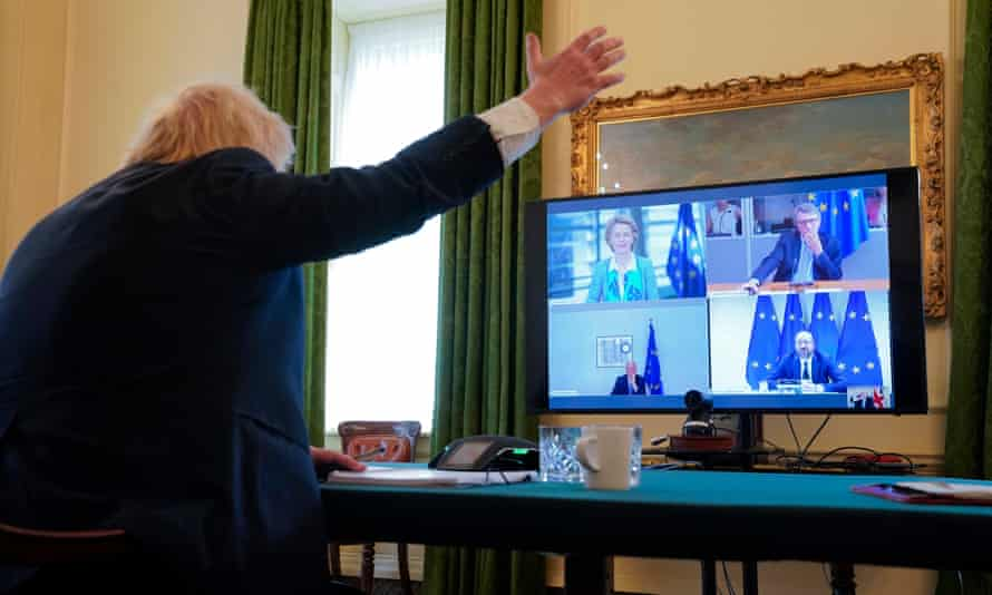 Boris Johnson taking part in a videoconference call at 10 Downing Street, 15 June 2020.