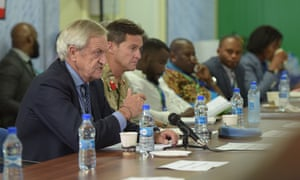 Nicholas Haysom, the UN secretary general's special envoy for Somalia, speaks at a meeting at the AU Mission to Somalia headquarters in Mogadishu