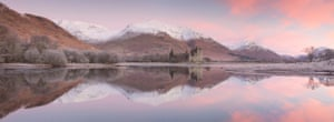 David Speight: Kilchurn Castle at Sunrise Loch Awe, Highlands, Scotland  This was the third day of a fantastic trip north in November 2016. Staying around Glencoe, we'd already been fortunate to witness unbelievable winter conditions. With clear skies and low temperatures the night before, the trees and grasses around Kilchurn Bay were covered in the thickest hoar frost I've ever seen. Although the pre-dawn sky had looked pretty cloudless only an hour before, a patch of delicate colour began to spread and reflect on the surface of the loch before sunrise. Classic view, adult class, shortlisted