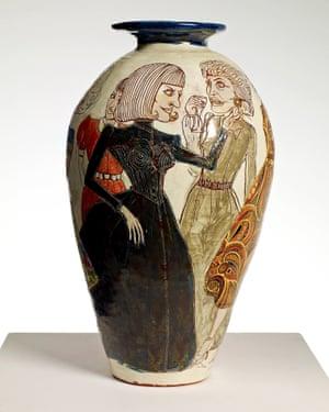 A 1989 glazed ceramic pot by Grayson Perry