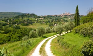 View looking back to the town of San Gimignano from the countryside nearby. Italy.