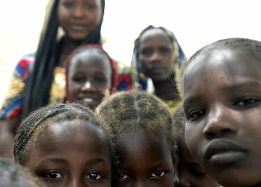 Children of Nigerian refugees from the conflict with Boko Haram at a camp in the village of Klissoum near N'Djamena, Chad.