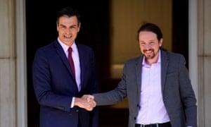 Spain's acting prime minister, Pedro Sánchez, with Pablo Iglesias, leader of Unidas Podemos