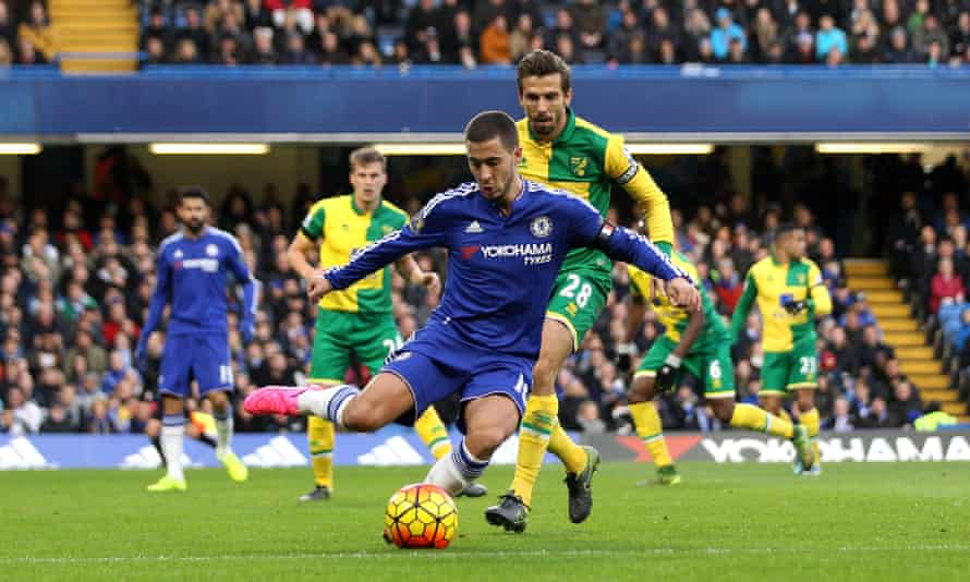Eden Hazard of Chelsea in action during his side's 1-0 Premier League home win against Norwich