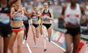 Laura Muir finishes the women's mile event but fails to beat  Zola' Budd's GB record during the London Anniversary Games in 2018.