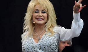 Dolly Parton on the Pyramid stage during day three of the 2014 Glastonbury festival.